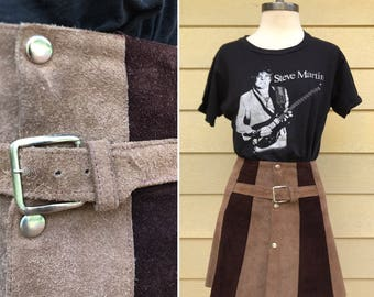 Vintage 60s two tone suede mini skirt / Buckle detail / MOD leather skirt / 25 or 26 inch high waist