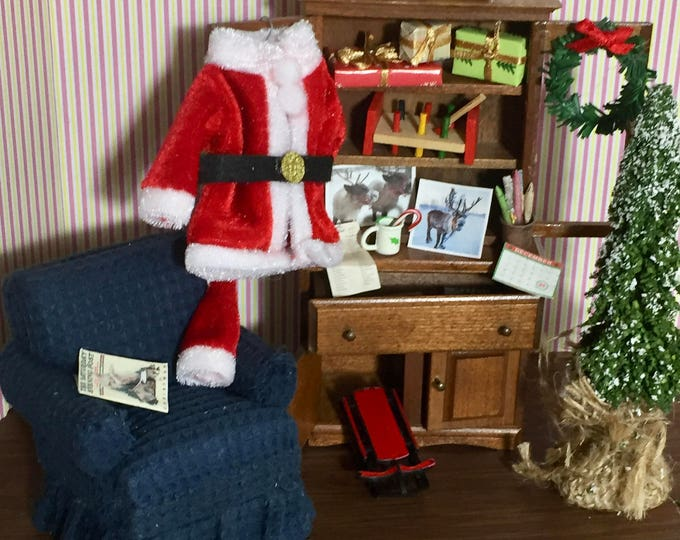 Featured listing image: Santa's Office Furniture Set, Dollhouse Miniatures, 1:12 Scale, Decorated Hutch, Chair, Vignette, Vintage Miniature Decorated Hutch