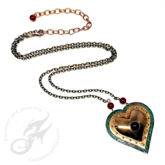 Metalwork Puffed Heart Pendant Necklace ~ Verdigris Copper & Brass w/Carnelian ~ City Hall Relics Collection #N0694 by Robin Taylor Delargy