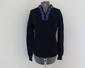 Vintage 1960s Navy Shetland Wool Knit Sweater - Chest/Bust 36 by Archie Brown & Son