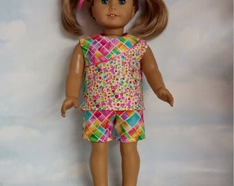 18 inch doll clothes -Geometric Shorts and Top handmade to fit the American girl doll - Free Shipping USA