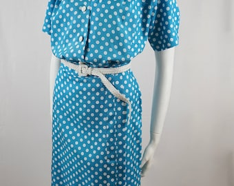 Vintage 80s Blue and White Polka Dot Two Piece Blouse and Skirt Top and Bottom Set Suit Outfit Dress Australia