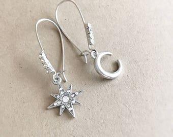 moon and star earrings - LUNA - crescent moon earrings rhinestone earrings celestial earrings silver moon jewelry astronomy earrings