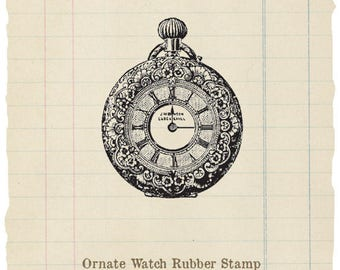 Ornate Watch unmounted rubber stamp