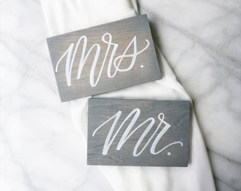 Mr. and Mrs. Wooden Hand-lettered Place Card Signs - 6x4 with choice of stain color