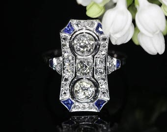 Sapphire Ring, Blue sapphire three diamond engagement ring platinum old European cut diamonds .92ct vintage Art Deco ring