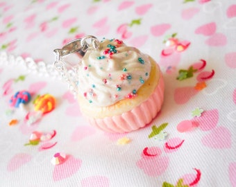 Pink Sprinkle Cupcake Necklace / Food Necklace / Dessert / Kawaii / Cute Necklace / Sweet Lolita / Polymer Clay