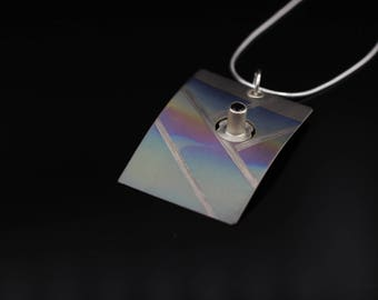 Landscape Titanium Pendant - with Sterling silver and black spinel