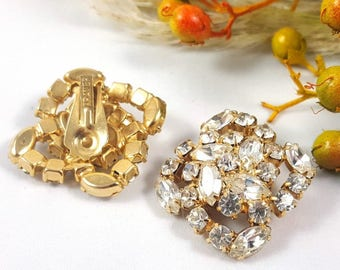 Vintage Rhinestone Ice Earring Clips by Kramer