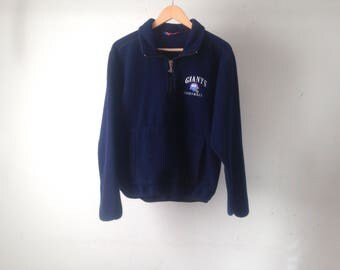 vintage NY GIANTS football CHAMPION brand navy blue fleece vintage new york men's coat jacket