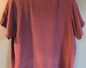 Vintage Dark Purple 100% Silk Blouse