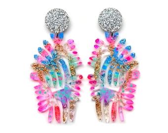 Glitter Statement Earrings Laser Cut Earrings Acrylic Earring Stud Dangle Earrings Resin Earrings Laser Cut Jewelry Glitter Acrylic Jewelry