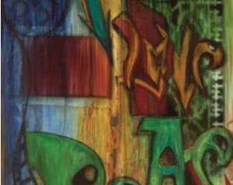"""Street Smarts All-City Panel from Frond Design Studios - Peace Graffiti Panel is 24"""" x 44"""""""