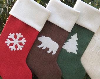 For Laura Monogrammed Christmas Stockings, Burlap Christmas Stockings, You Design