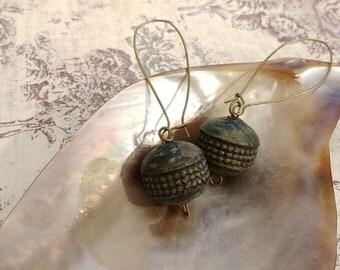 Vintage Patina Metal Bead Earrings