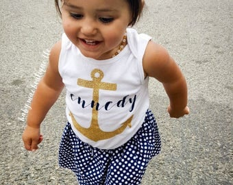 Baby Girl Outfit; Nautical Anchor Outfit; Baby Girl Anchor Outfit; Nautical Anchor Name Bodysuit w/ Navy Dot Skirt; Gerber® Onesies ® brand