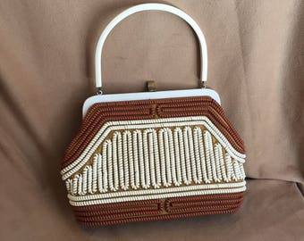 Vintage 40's Telephone Cord Handbag, Brown and White Plastic Coil Purse with Lucite Top Handle, 50's, Rockabilly Style, Vegan Friendly