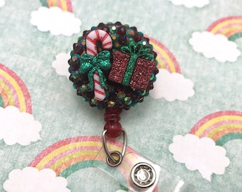 Christmas Candy Cane Present Box peppermint Red Green Holiday December Nurse Rn Cna Technician Retractable Work Id Badge Reel Holder Nametag