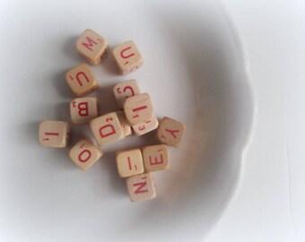 Vintage Letter Cubes Scrabble RSVP Game Wood Cubes Lot of 15 Destash Supply