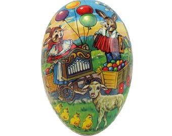 Vintage Retro Large Paper Mache Easter Egg with Paper Lace Made In Germany Democratic Republic Baby Chicks Goats Rabbits