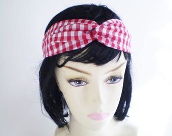 Red Gingham Twist Headband, Red White Turban Headband, Gingham Twist Headband, Red Check Headband, Red Gingham Headband, Red White Headband