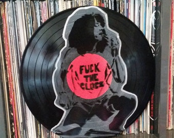 Patti Smith F*ck the Clock punk art up cycled vinyl record painting street art spray paint stencil cbgb record store art Rainbow Alternative