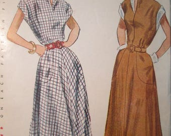 Simplicity 2792 Vintage 40's Long Day Dress Sewing Pattern - 4 Gore Skirt Cuff Sleeve Dress Pattern - 1940s Dress Pattern - Size 18 Bust 36