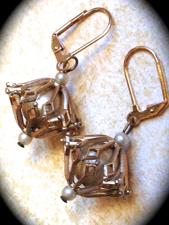 Mid century Gold Toned Caged Pearl Dangle Vintage  Earrings