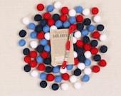 Felt Pom-Poms // Red, White + Blue // Garland Kit, Patriotic Color Palette, DIY Garland, July 4th Crafts, Independence Day Wool Felt Balls
