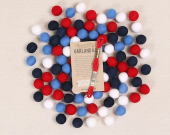 Felt Pom-Poms // Red, White + Blue // Garland Kit, Patriotic Color Palette, DIY Garland, July 4th Crafts, Independence Day Wool Felt Balls