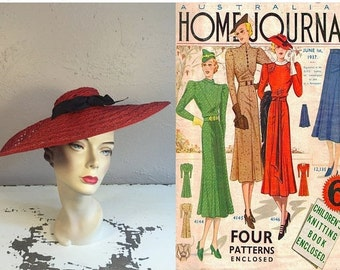 Melbourne Society Gala  - Vintage 1930s Lipstick Red Woven Straw Cavalier Wide Brim Hat w/Navy Bow