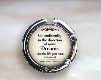Go confidently in the direction of your Dreams quote purse hook, purse hanger gift for graduate Thoreau quote bag hanger graduation gift