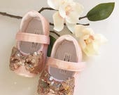 Blush Shoes with Rose Gold Bow Toddler Girl Shoes Baby Girl Shoes Flower Girl Shoes Rose Gold Shoes Vintage Chic Wedding Shoes  - Luna