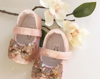 blush shoes with rose gold bow toddler girl shoes baby girl shoes flower girl shoes rose