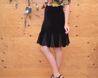 Vintage 90's Black Fishtail Velvet & Sequin Form Fitting Skirt SZ S/M
