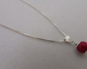 Layering Necklace, Simple Silver Red Bead Charm Necklace, Dainty Layer Necklace, Choker Necklace, Minimalist Silver Chain Jewelry