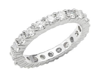 2.20 Carat Eternity Diamond Ring, Wedding Band, Eternity Band 14K White Gold Stackable handmade