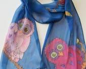 Owl silk scarf, cute whimsy owls navy blue scarf