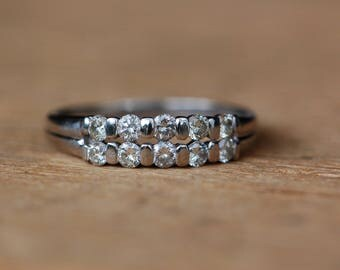 Vintage mid-century double row platinum diamond stacking or wedding band