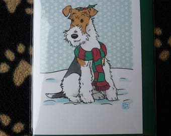 Wire Haired Fox Terrier Christmas Card