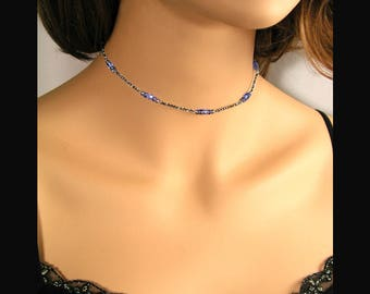 Dainty Sapphire Crystal Choker Necklace, September Birthstone, Sterling Silver, Simple Minimalist Necklace, Blue Swarovski Crystal Jewelry