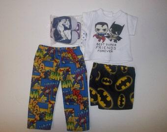 "Super hero lot -spider man Batman pants top fits 18"" American girl boy doll"