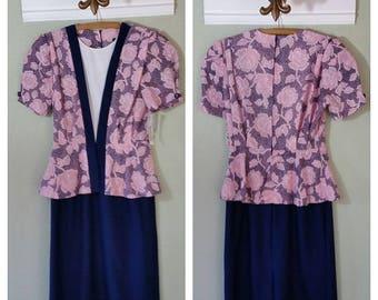 70s early 80s Short Sleeve dress with peplum, Polyester, 2 piece look, Jenny Petites,  Rockabilly Dress, Size Medium/Large , #58615