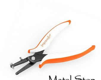 """Impressart Metal Hole Punch Pliers 1.6 mm hole (1/16"""") with ergonomic handles, depth guard, a long reach and replacement pin"""