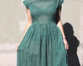 Vintage 1950's Dress // 50s Evergreen Check Windowpane Plaid Sheer Cotton Voile Day Dress // Summer Lawn Party Pleated Skirt