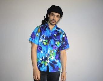 Rare 1960s Blue Reef Hawaiian Short Sleeve Hip Hop Rap Rapper Men's Button Up Dress Shirt - MV0403