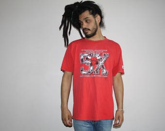 Vintage 90s Chicago Bulls NBA Basketball T-Shirt - 5 times champions 91 92 93 96 97 - 90s Nba Tees - 90s Clothing - MTS-28