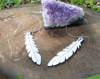 Feather earrings, metal feather hoop earrings