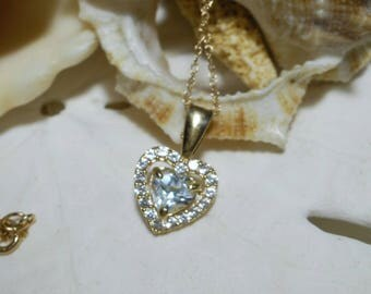 10k Aquamarine and White Sapphire Necklace Heart Motif w 18 inch 10k Gold Chain