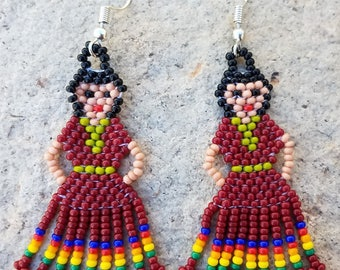 Native Mexican Huichol Lady Dress Beaded Earrings